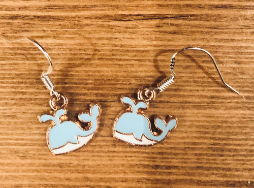 Blue Whale Enamel Earrings - D031