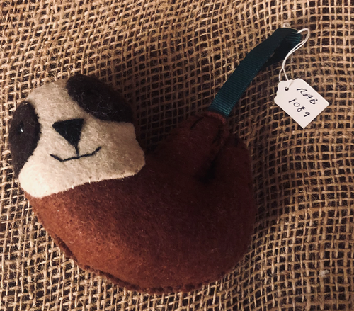 Handmade Felt Sloth Decoration - RAB1089