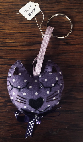 Handmade Purple Cat Keyring - RAB1076