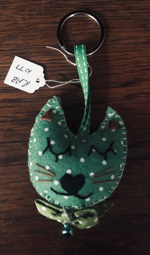 Handmade Green Cat Keyring - RAB1077