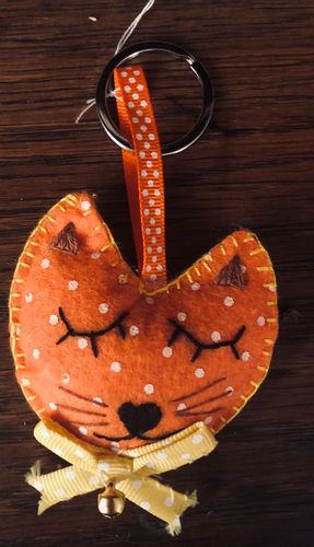 Handmade Orange Cat Keyring - RAB1078