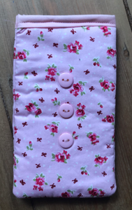 Pink Vintage Flowers Print Mobile Phone Sock Pouch - Miss Pretty London UK Limited