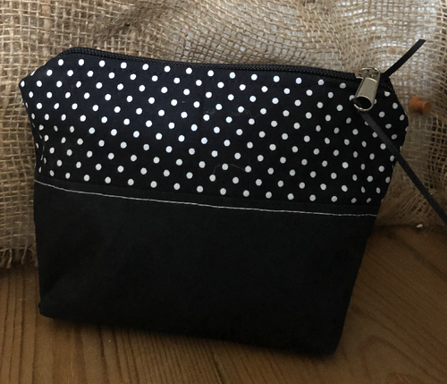 Handmade Cotton Toiletry Makeup Bag - Black Polka Dot - Miss Pretty London UK Limited