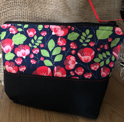 Handmade Cotton Toiletry Makeup Bag - Red Poppies - Miss Pretty London UK Limited