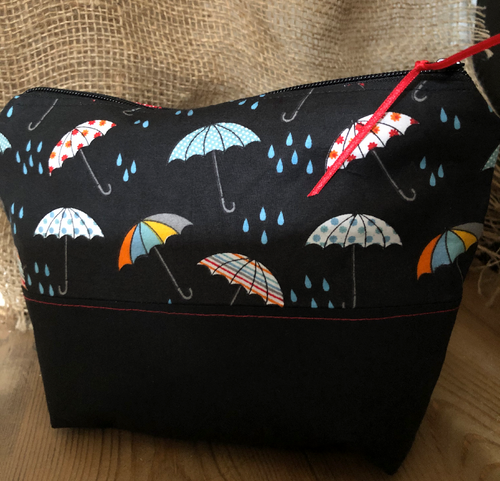 Handmade Cotton Toiletry Makeup Bag - Rainy Days - Miss Pretty London UK Limited