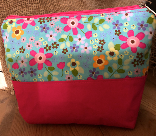 Handmade Cotton Toiletry Makeup Bag - Blue Retro Flowers - Miss Pretty London UK Limited