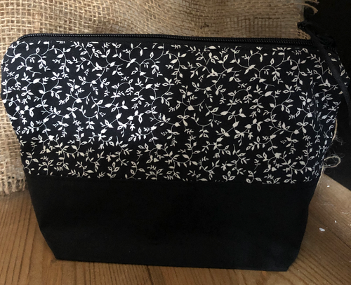 Handmade Cotton Toiletry Makeup Bag - Black Flowers - Miss Pretty London UK Limited