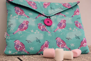 Mint and Plum Birds Print Tablet Bag