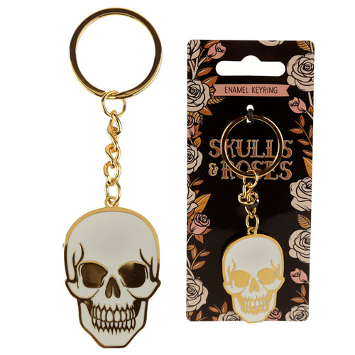 Fun Collectable Skulls & Roses Enamel Keyring