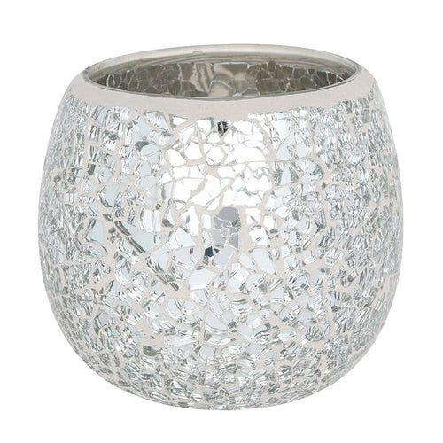 LARGE SILVER CRACKLE GLASS CANDLE HOLDER
