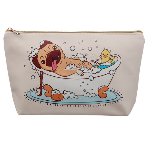 Large PVC Make Up Toiletry Wash Bag - Mopps Pug - Miss Pretty London UK Limited