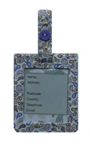 Lilac Paisley Luggage Identity Bag Tag