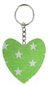 Large_Green_Stars_Print_Fabric_Heart_Keyring