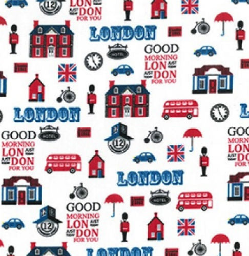 London_Print_Polycotton_Fabric