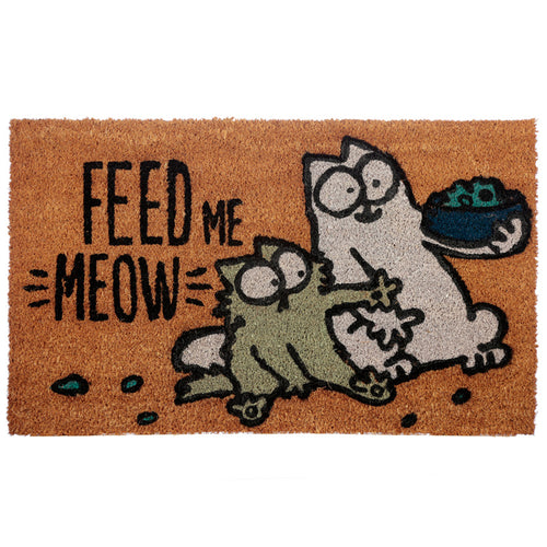 Coir Door Mat - Simon's Cat Feed Me Meow
