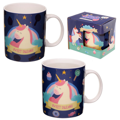 Heat Colour Changing Porcelain Mug - Sweet Dreams Unicorn