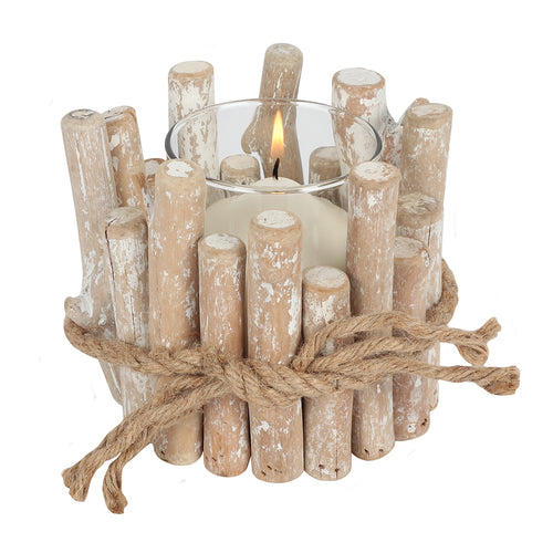 White Washed Driftwood Candle Holder
