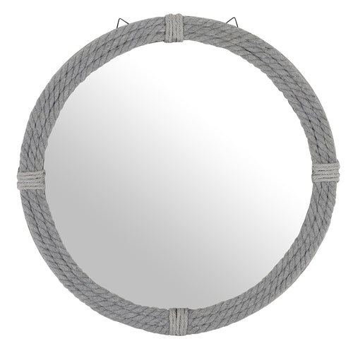Round Grey Rope Mirror