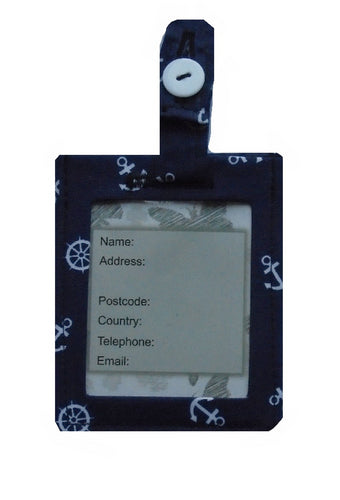 Navy Blue Anchors Print Luggage Identity Bag Tag