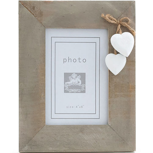 Single White Heart Photo Frame