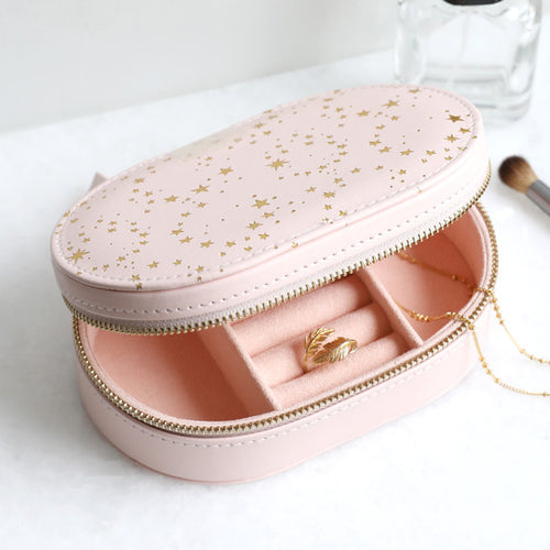 PINK WITH GOLD STARS OVAL TRAVEL JEWELLERY CASE - 34595