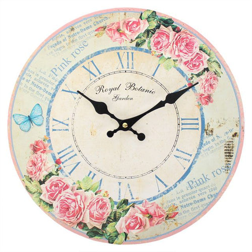 PINK ROSE ROYAL BOTANIC WALL CLOCK - Miss Pretty London UK Limited