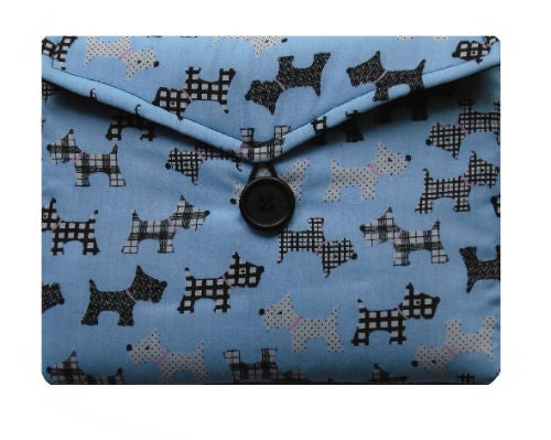 Pale Blue Scottie Dogs Print Tablet Bag - Miss Pretty London UK Limited