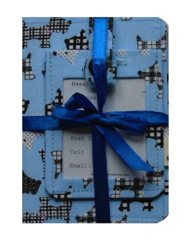 Pale Blue Scottie Dogs Print Passport Cover and Luggage Tag Gift Set