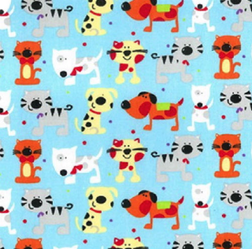 Pale Blue Cartoon Dogs Print Polycotton Craft Fabric