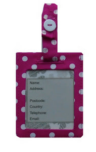 Pink and White Polka Dot Print Luggage Identity Bag Tag