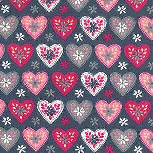 Grey and Pink Hearts Print PolyCotton Fabric