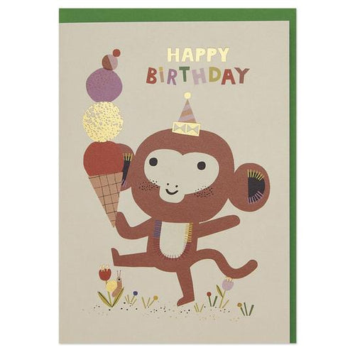 Playful monkey and ice cream children's Birthday Greeting Card - RBL023