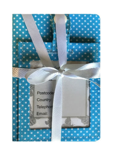 Powder Blue Polka Dot Print Passport Cover and Luggage Tag Gift Set