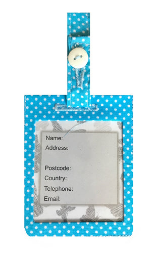 Powder Blue Polka Dot Luggage Identity Bag Tag