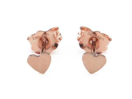 ROSE GOLD FILLED HEART EAR STUDS - MPL410 - Miss Pretty London UK Limited