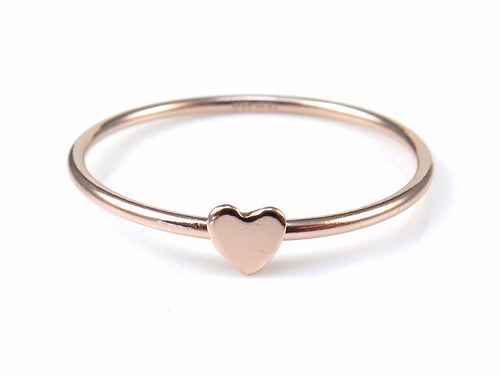 ROSE GOLD FILLED STACKING RING WITH HEART