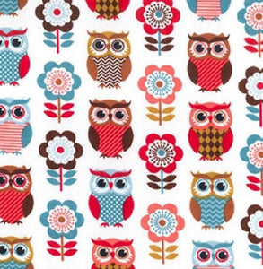 Red Owls Print PolyCotton Fabric