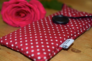 Red Polka Dot Print Glasses Case