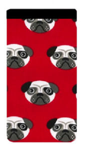 Red Pug Print Mobile Phone Sock Pouch