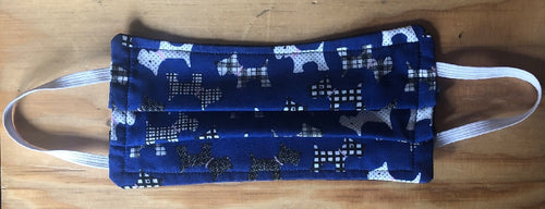 Royal Blue Scottie Dogs Print Face Mask