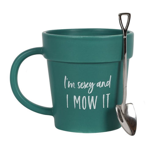 SEXY AND I MOW IT POT MUG AND SHOVEL SPOON - Miss Pretty London UK Limited