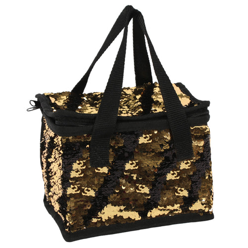 Black And Gold Reversible Sequin Lunch Bag - Miss Pretty London UK Limited