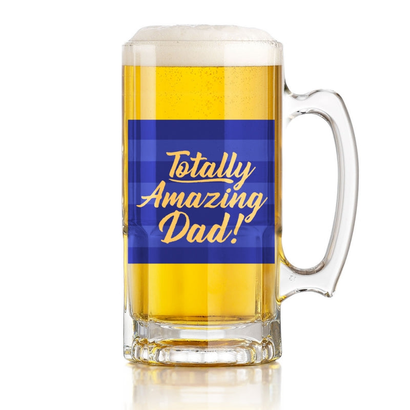 Totally Amazing Dad Beer Tankard  - Blue Stripe Design With Gold Writing