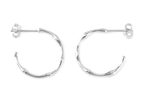 STERLING SILVER BAMBOO EAR HOOPS - MPL708