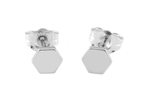 STERLING SILVER HEXAGON EAR STUDS