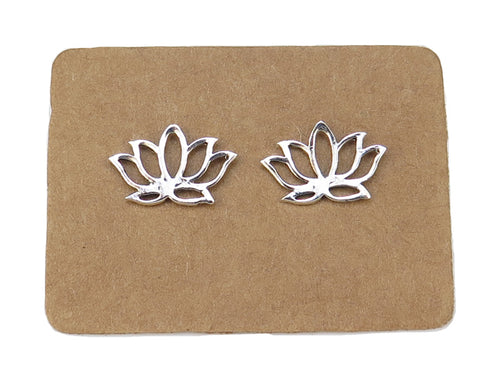 STERLING SILVER LOTUS EAR STUDS MPL901