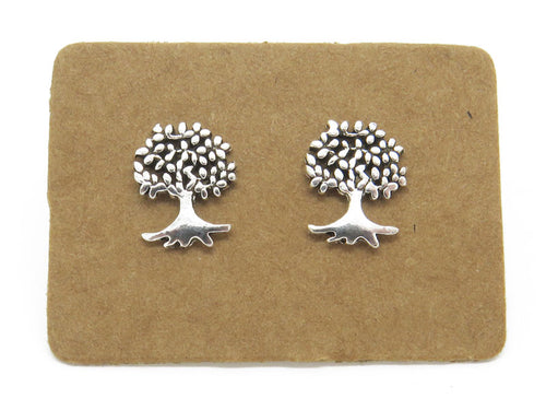 STERLING SILVER TREE OF LIFE EAR STUDS - MPL407 - Miss Pretty London UK Limited