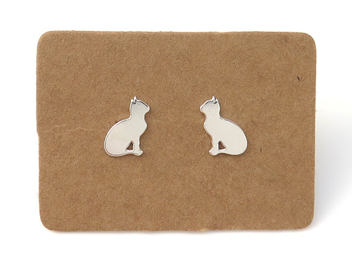 STERLING SILVER CAT EAR STUDS