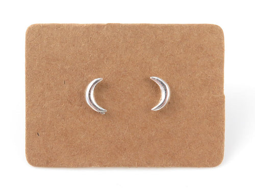 STERLING SILVER CRESCENT MOON EAR STUDS