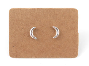 STERLING SILVER CRESCENT MOON EAR STUDS - Miss Pretty London UK Limited